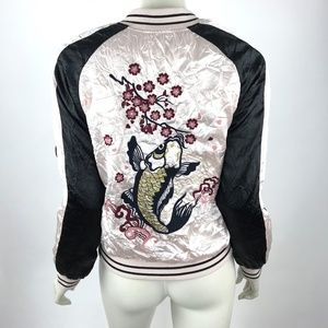 Topshop Silky Embroidere Bomber Jacket